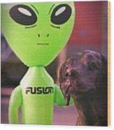 Alien's Best Friend Wood Print