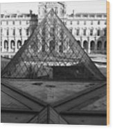 Aligned Pyramids At The Louvre Wood Print