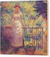 Aline At The Gate Girl In The Garden 1884 Wood Print