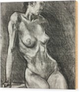 Alison Charcoal On Paper From Observation  Wood Print