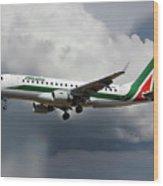 Alitalia Embraer Erj-175std Wood Print