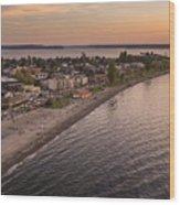 Alki Point Aerial Sunset Wood Print