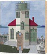 Alki Point On Elliott Bay Wood Print