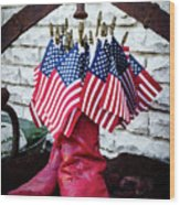 All American Flag And Red Boots - Painterly Wood Print