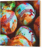 All American Pastime - Pile Of Baseballs - Painterly Wood Print