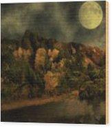 All Hallows Moon Wood Print