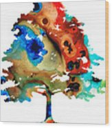 All Seasons Tree 3 - Colorful Landscape Print Wood Print