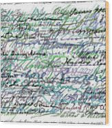 All The Presidents Signatures Teal Blue Wood Print