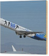 Allegiant Air Mcdonnell-douglas Md-83 N408nv Mesa Gateway Airport Arizona March 11 2011 Wood Print