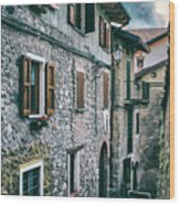 Alley In An Alpine Village #1 Wood Print