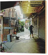 Alley Market End Of Day Wood Print
