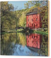 Alley Spring Mill Reflection Wood Print