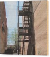 Alley W Fire Escape Wood Print
