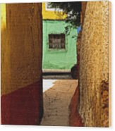 Alley With The Green Casa Wood Print