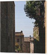 Alleyway In San Gimignano Wood Print