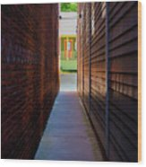 Alleyway To Green Wood Print