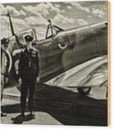 Allied Pilots Taking Stock Wood Print