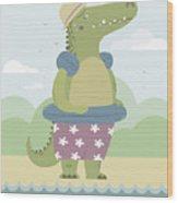 Alligator On The Beach Wood Print