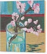 Almond Blossoms In A Glass Wood Print