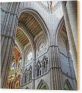 Almudena Cathedral Interior In Madrid Wood Print