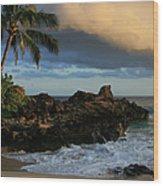 Aloha Naau Sunset Paako Beach Honuaula Makena Maui Hawaii Wood Print
