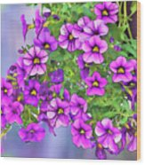 Aloha Purple Sky Calibrachoa Abstract I Wood Print