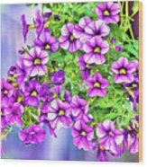 Aloha Purple Sky Calibrachoa Abstract II Wood Print