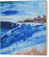 Alone By The Sea Abstract Seascape Wood Print