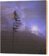 Alone In The Blue Fog Wood Print