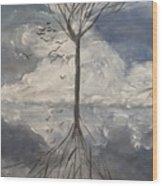 Alone Tree Wood Print