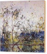 Along The River Bank Wood Print