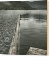 Along The Washington Coast - Dock, Breakwater, And Mountains Wood Print