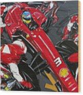 Alonso Ferrari 3 Wood Print