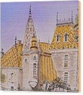 Aloxe Corton Chateau Jaune Wood Print