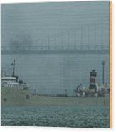 Alpena In The Fog Wood Print