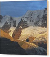 Alpenglow On The Swiss Alps Near Murren Wood Print