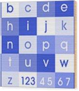 Alphabet Blue Wood Print by Michael Tompsett