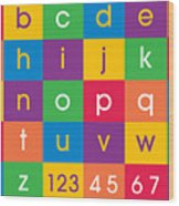 Alphabet Colors Wood Print by Michael Tompsett