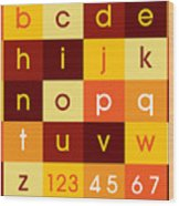 Alphabet Sunset Wood Print