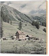 Alpine Farm Wood Print