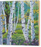 Alpine Flowers And Birches  Wood Print