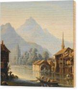 Alpine Lake Scenery With City View Wood Print