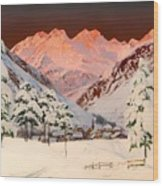 Alpine Mountain Scene Wood Print