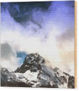 Alpine Mountains And Clouds Watercolour Wood Print