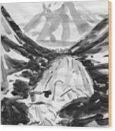 Alpine River Wood Print