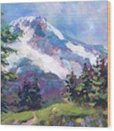 Alpine View Wood Print