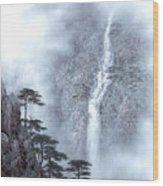 Alpine Waterfall Wood Print
