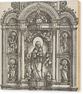 Altar With The Virgin And Child And Saints Christopher, Barbara, George And Catherine Wood Print