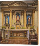 Alter Of The Mission San Buenaventura Wood Print