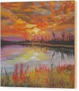 Alton Mill Summer Sunset Wood Print